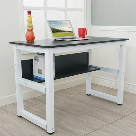 Musetech Home Office Desk Computer Table Modern Simple Design Wood Desktop  Metal Frame Study Writing Desk Workstation w/Storage Rack