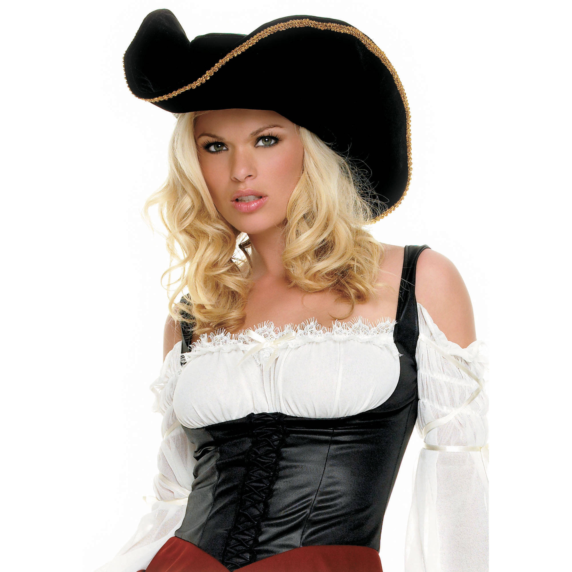 Pirate Hat with Gold Trim Adult Halloween Accessory