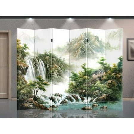 Double Sided Canvas Screen Room Divider - Mountain view (Asian Screen)