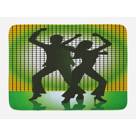 70s Party Bath Mat, Silhouette Illustration of Couple Dancing in Disco Love, Non-Slip Plush Mat Bathroom Kitchen Laundry Room Decor, 29.5 X 17.5 Inches, Pale Green Dark Green and Yellow, Ambesonne