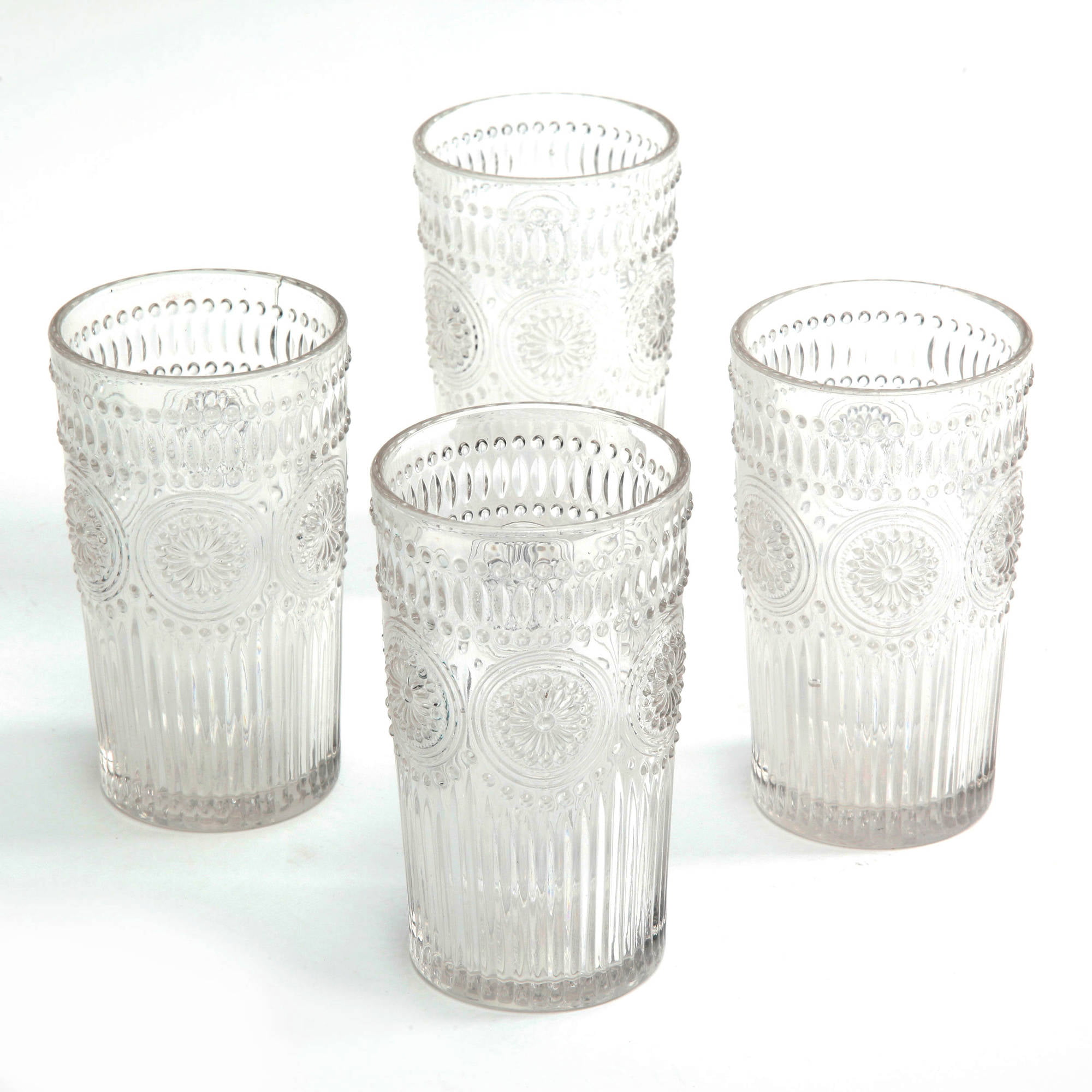 the pioneer woman adeline 16 ounce emboss glass drinking tumblers set of 4 clear ebay. Black Bedroom Furniture Sets. Home Design Ideas