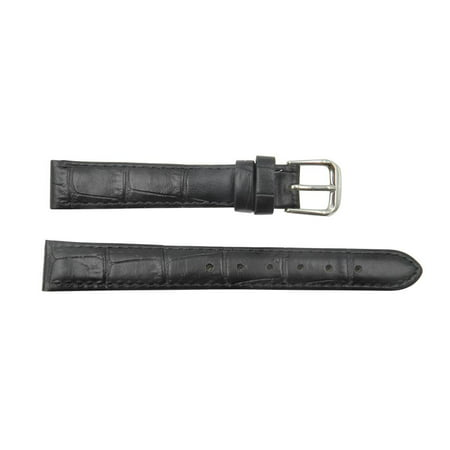 Genuine Leather Square Crocodile Grain 16mm Black Watch Strap (Womens 16mm Watch Band)