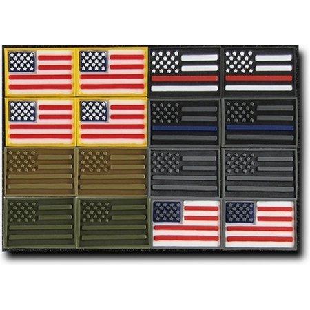 RapDom USA Flag Tactical Micro Rubber H&L Velcro-Back Patch Set [16 Per Set - 3x2