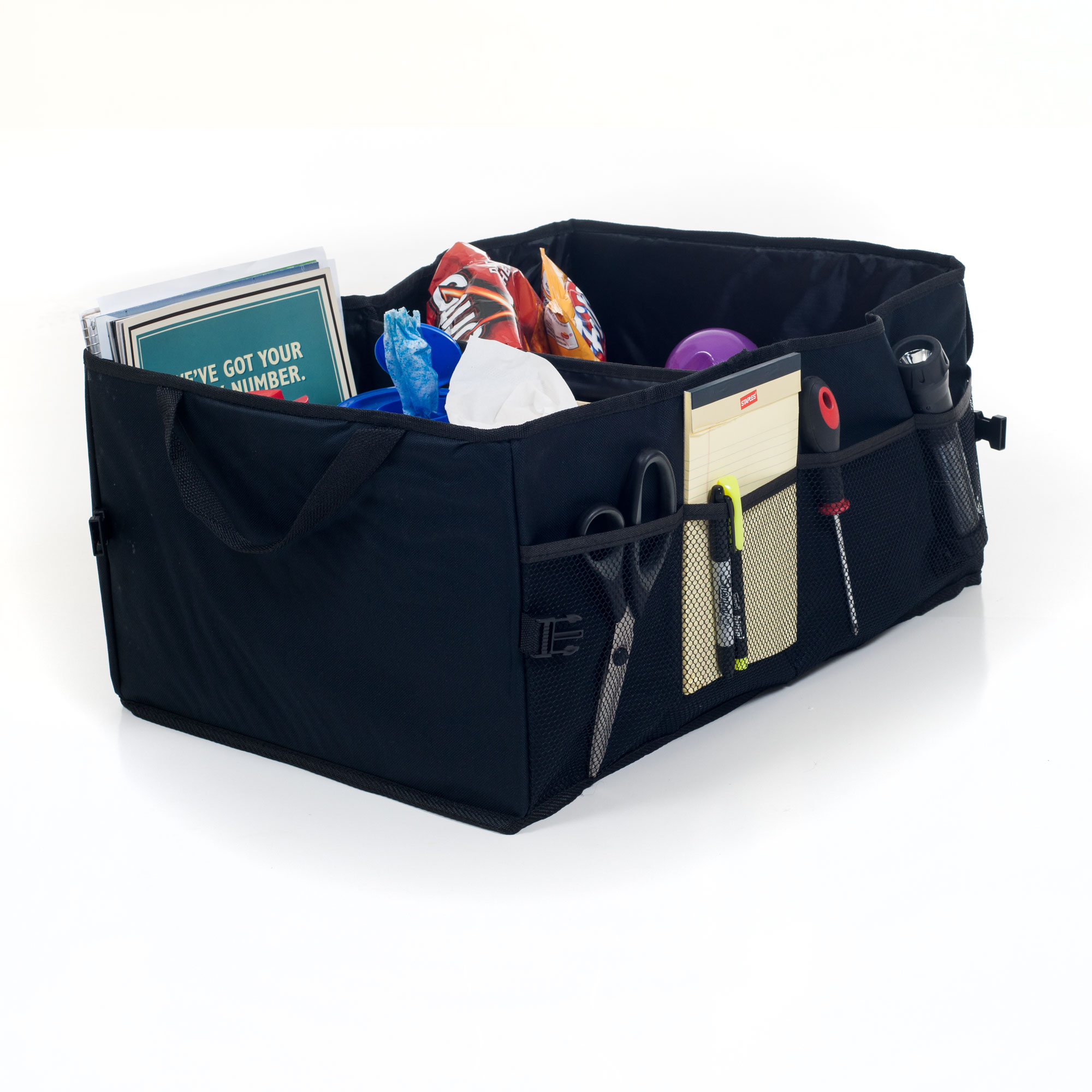 Trunk Organizer - Collapsible Storage Bin for Car, Truck or SUV - Divided Catchall with Mesh Pockets for Groceries, Emergency Items, Cargo by Stalwart
