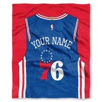 "NBA Philadelphia 76ers ""Jersey"" Personalized Silk Touch Throw Blanket"
