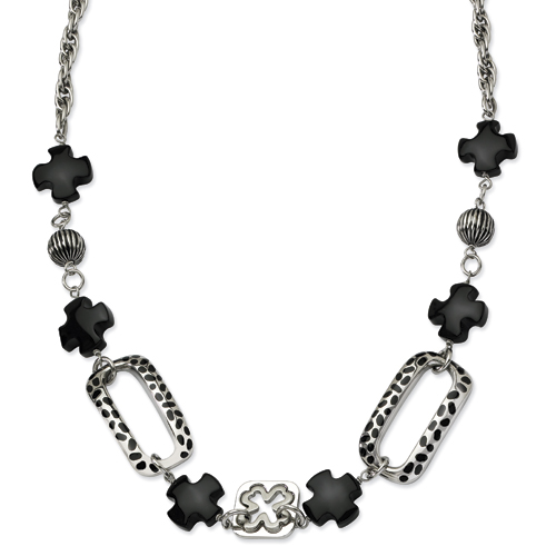 Stainless Steel Black Agate & Resin 24 in  w/ 1 in  ext. Necklace