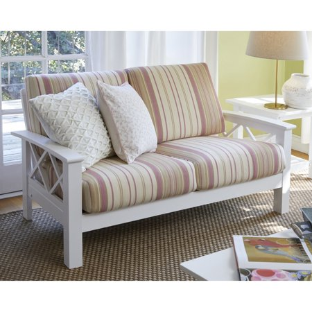 Handy Seat - Handy Living  Virginia Pink Stripe X Design Loveseat with Exposed Wood Frame