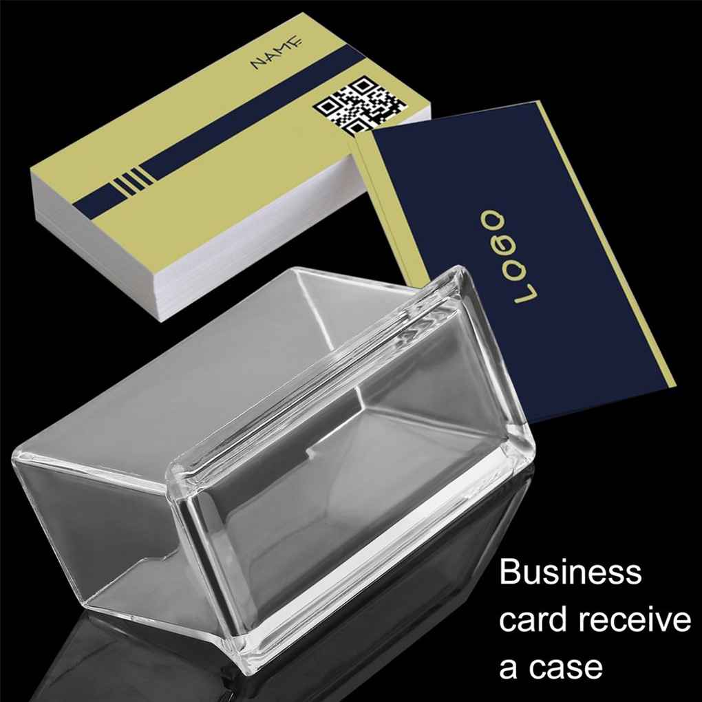 Surobayuusaku Portable Clear Business Card Holder Display Stand Desk Desktop Countertop Business Card Holder Desk Shelf Box