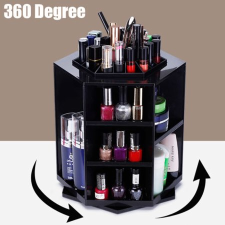 360 Degree Rotating Cosmetic Makeup Organizer,Tidy Organizer Cosmetic Display Brush Lipstick Storage Stand Box,Black - Halloween Makeup Stores Near Me