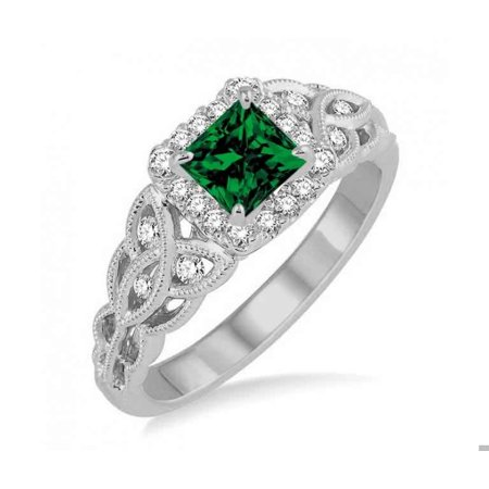 Antique 1.25 Carat Princess cut Emerald and Diamond Wedding Ring in 10k White Gold affordable emerald and diamond engagement