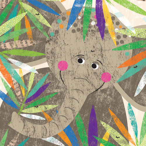 Oopsy Daisy's Peeking Jungle Buddies, Elephant Canvas Wall Art, Size 14x14