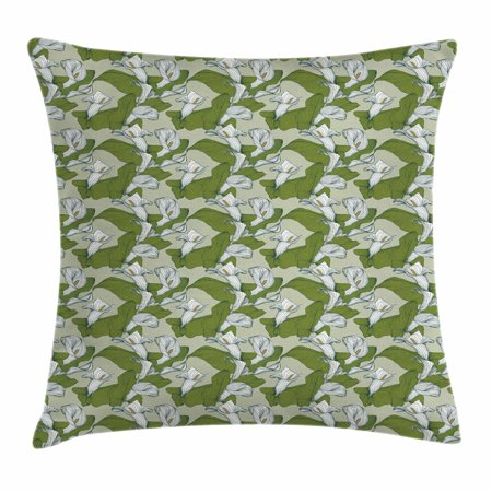 Green and White Throw Pillow Cushion Cover, Abstract Calla Lily Flowers in White with Green Leaves, Decorative Square Accent Pillow Case, 24 X 24 Inches, Sage Green Olive Green White, - Lily Accent Light