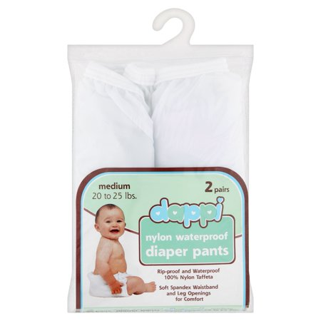 Dappi Nylon Waterproof Diaper Pants Medium 20 to 25 lbs, 2 count