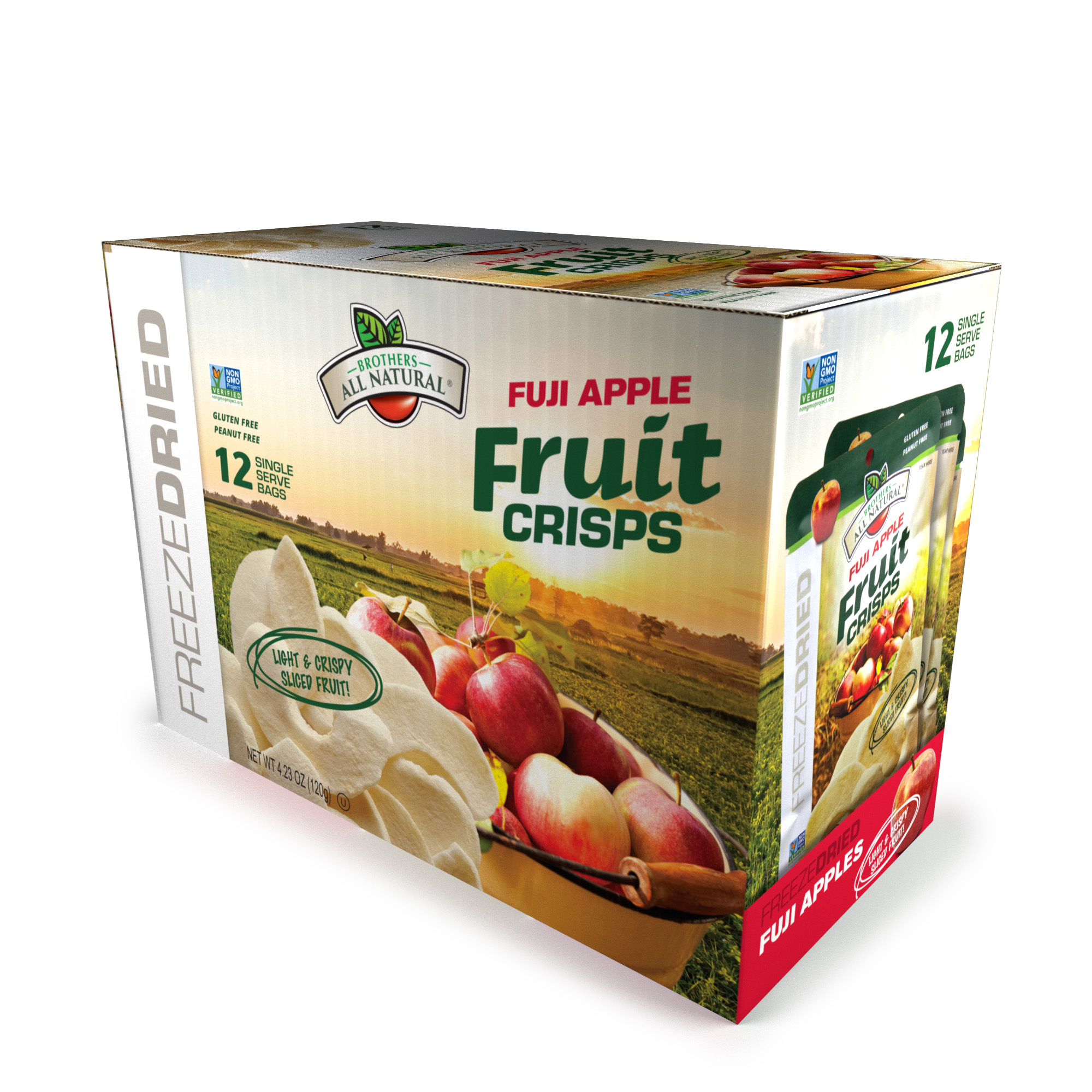 Brothers-ALL-Natural Fuji Apple Crisps, 0.35 Ounce Bags (Innerpack of 12)