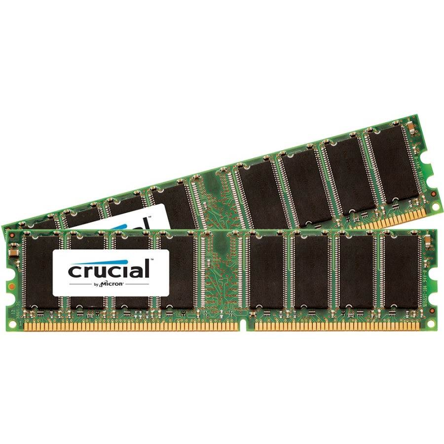 Crucial 1GB Kit (512MBx2), 184-pin DIMM, DDR PC3200 Memory Module - 1 GB (2 x 512 MB) - DDR SDRAM - 400 MHz DDR400/PC3