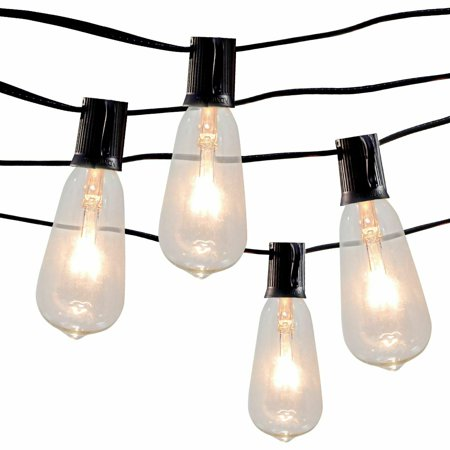 10Ft Edison String Lights with 10 Vintage Clear Edison Bulbs, UL Listed, Black Wire ()