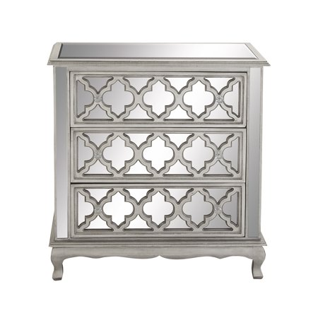 half off cdabb 11273 Decmode Contemporary Small 3-Drawer Silver Wood & Mirrored Cabinet w/  Crystal Rosette Handles
