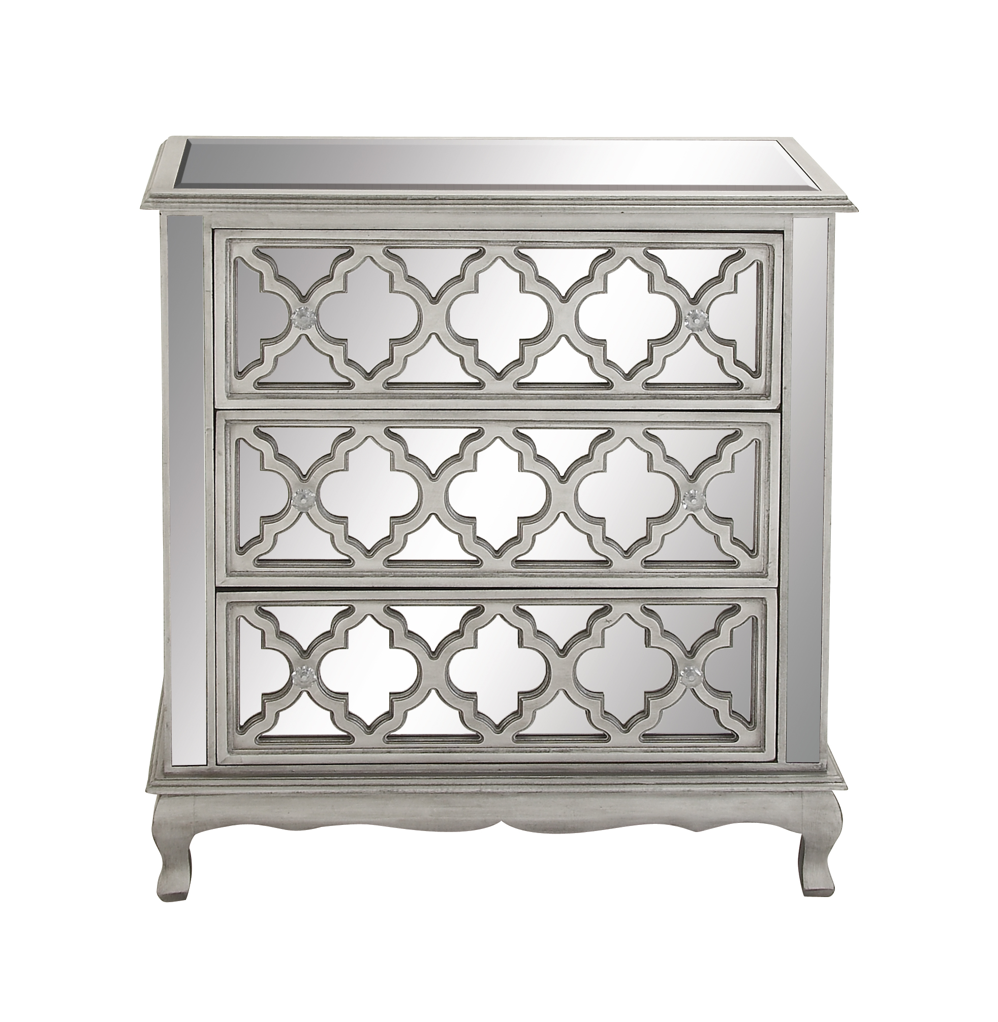 Decmode Contemporary Small 3-Drawer Silver Wood & Mirrored Cabinet w/ Crystal Rosette Handles