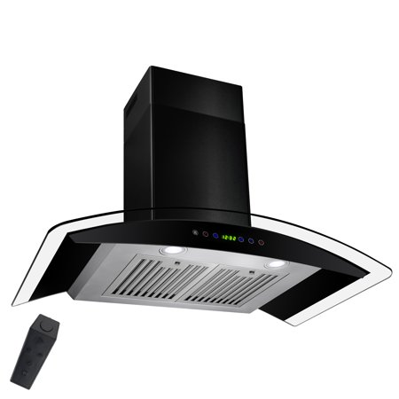 """AKDY 36"""" Wall Mount Range Hood Stainless Steel Black Painted Remote Timer Gas Sensor Clock LED Kitchen Contemporary Baffle Filters"""