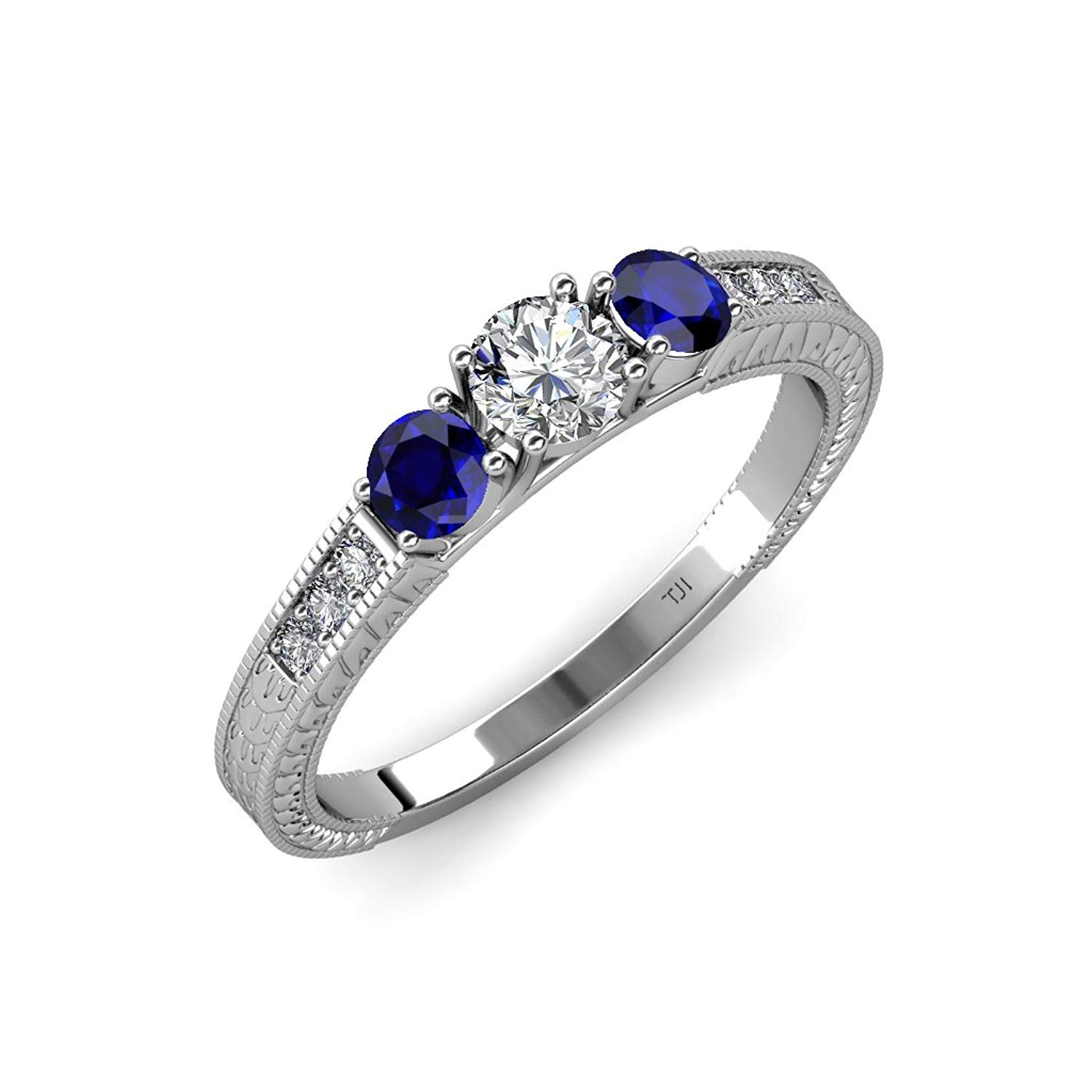 Diamond and Blue Sapphire Milgrain Work 3 Stone Ring with Side Diamond 0.85 ct tw 14K White Gold.size 8.5 by TriJewels
