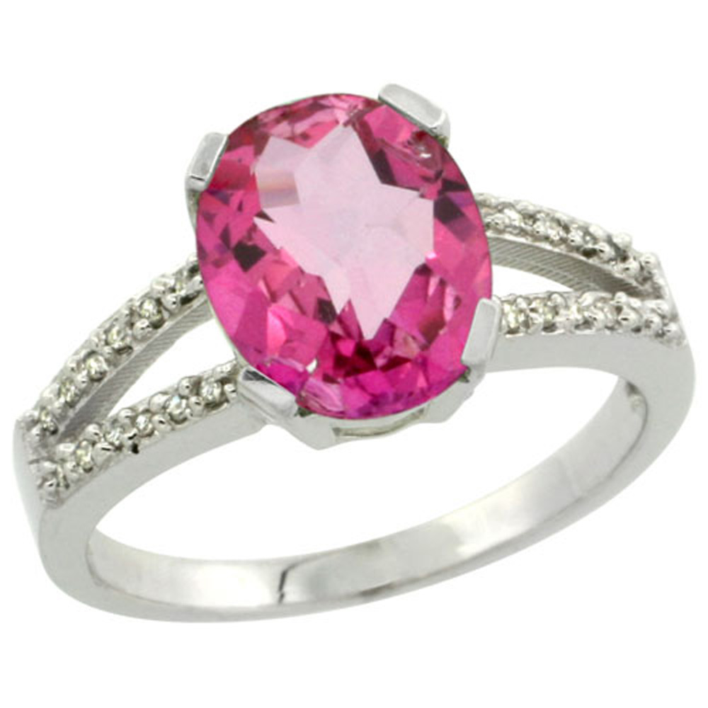 Sterling Silver Diamond Halo Natural Pink Topaz Ring Oval 10x8mm, 3 ...