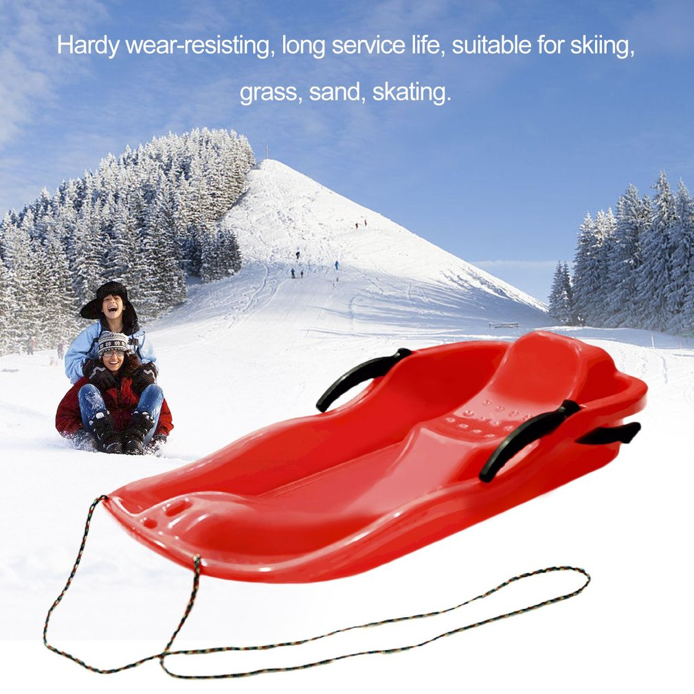 Thickened Sled Snowboard Grass Skiing Car Sliding Plate with Brake For Kids by