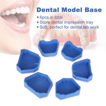 6pcs Dental Model Base Set Dental Lab Former Base Kit Dental Mold Plaster Base Large Middle Small Size Blue ()