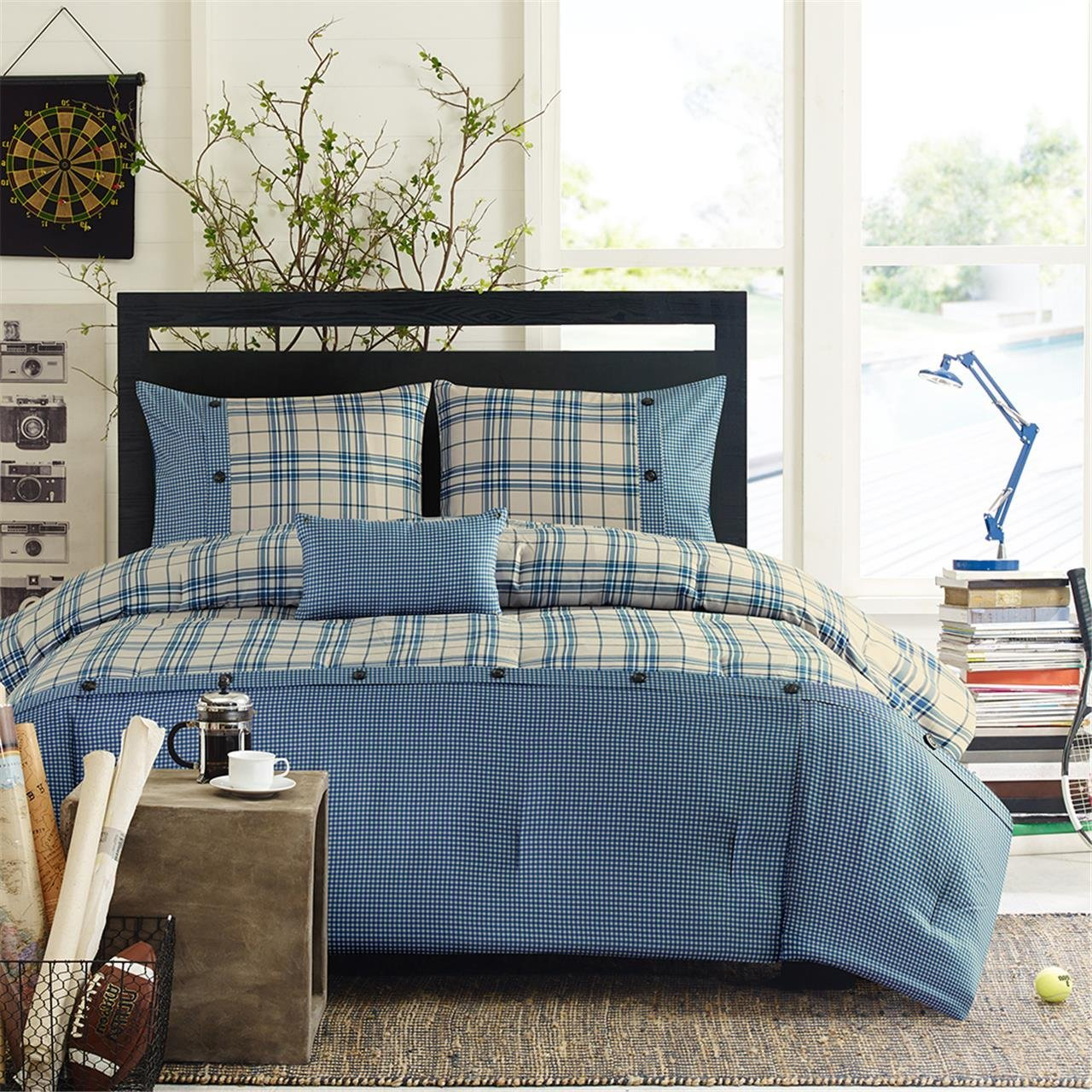 Daryl Comforter Set Blue King/Cal King, An update to the traditional plaid, the Daryl Comforter Set combines modern textures to create this unique collection..., By Intelligent Design