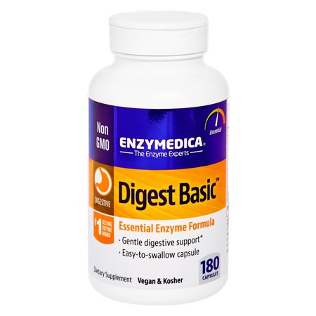 Enzymedica, Digest Basic, 180 Capsules, Dietary Supplement to Support Digestive Relief, Vegan, Gluten Free, Non-GMO, 180 Servings Succeed Digestive Supplement
