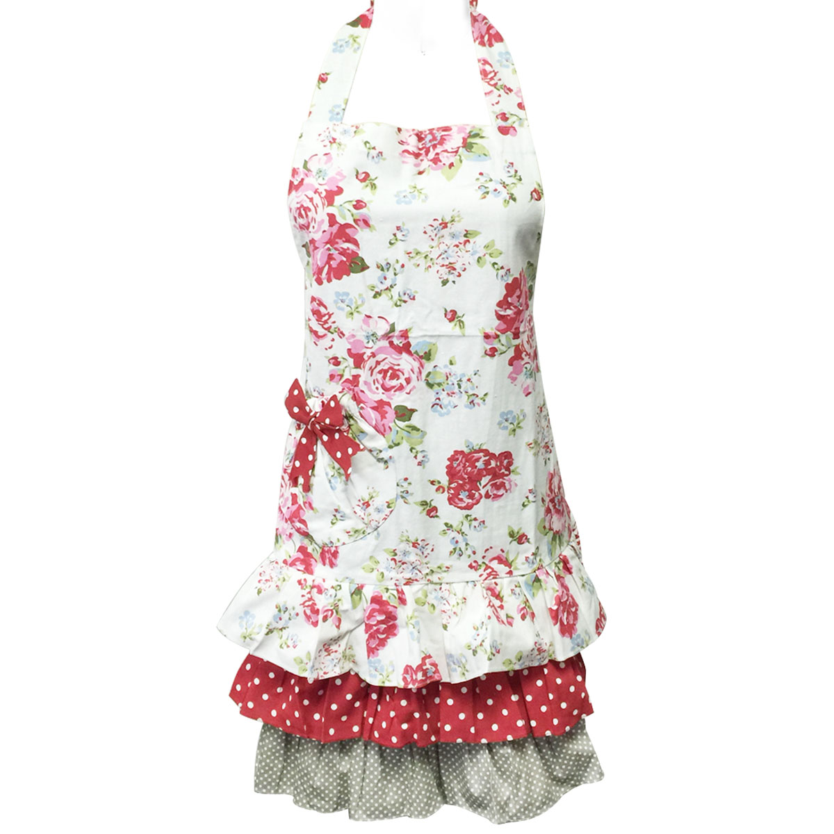 Wrapables® Ruffles and Roses Canvas Apron
