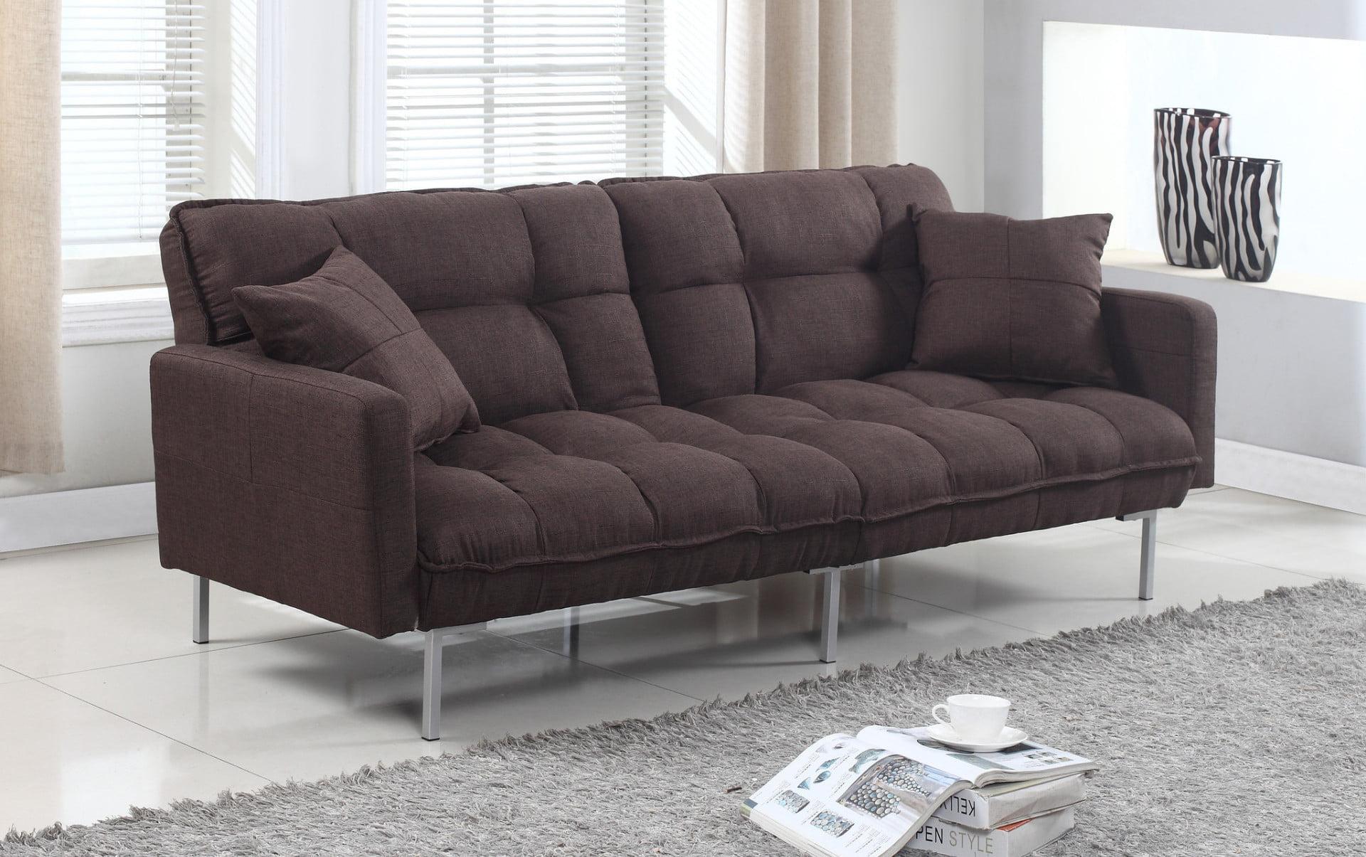 futon modern simple modern futon sofa bed grey boca futon the  - modern plush tufted linen fabric splitback living room sleeper