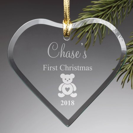 Personalized First Christmas Glass Ornament ()