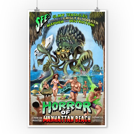 Manhattan Beach, California - Alien Attack Horror - Lantern Press Poster (9x12 Art Print, Wall Decor Travel - Horror Decor