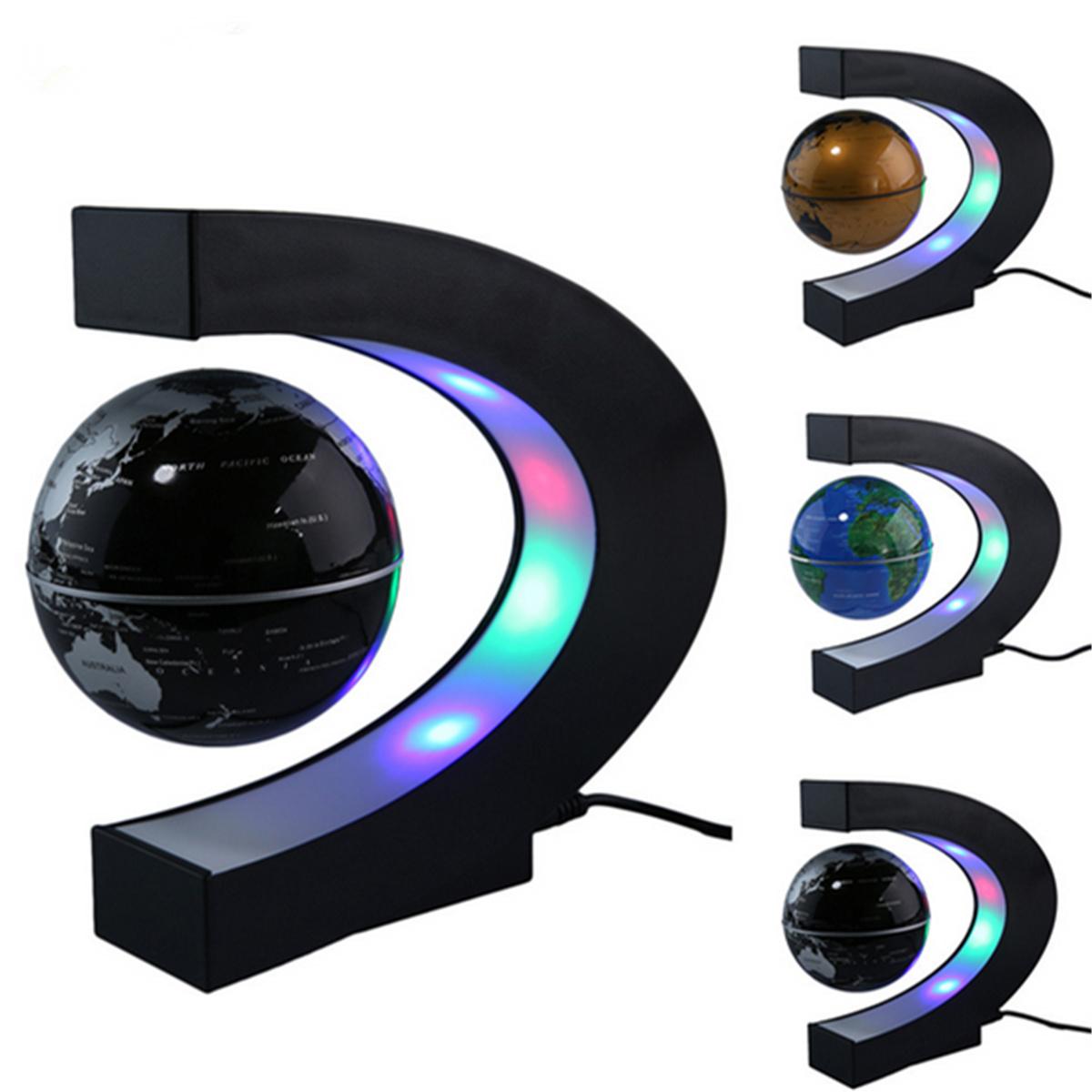 C shape Knowledge Shape LED Light Earth Map Luminous Floating Anti Gravity Globe Magnetic Levitation World Globe Tellurion Decor Educational Xmas Toy Gift