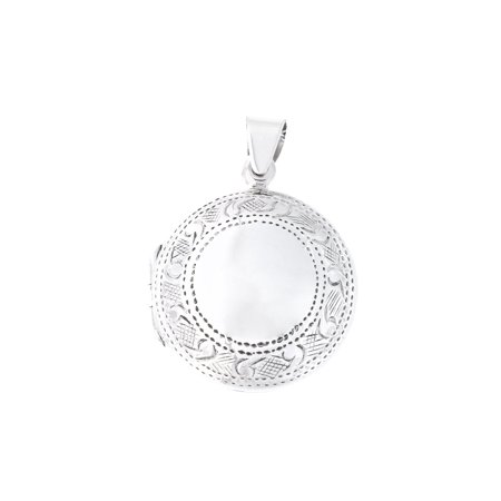 Solid Sterling Silver Etched Round Locket Pendant Necklace Etched Pendant Necklace