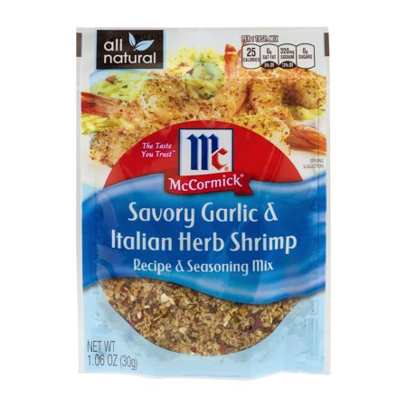 (4 Pack) McCormick Recipe & Seasoning Mix - Savory Garlic & Italian Herb Shrimp, 1.06 (Garlic Shrimp Recipe)