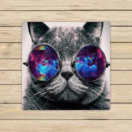 GCKG Galaxy Hipster Cat Wear Color Sunglasses Beach Towel Shower Towel Wrap For Home and Travel Use Size 13x13 inches Cat Beach Towel