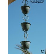 Monarch Pure Copper Hammered Cup Rain Chain, 8-1/2 Feet Length (Green Patina)