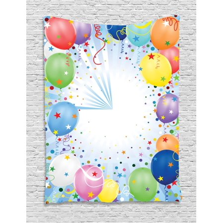 Kids Party Tapestry, Happy Celebration Event Theme with Colorful Flying Balloons Confetti and Stars, Wall Hanging for Bedroom Living Room Dorm Decor, 40W X 60L Inches, Multicolor, by Ambesonne (Themed Events)