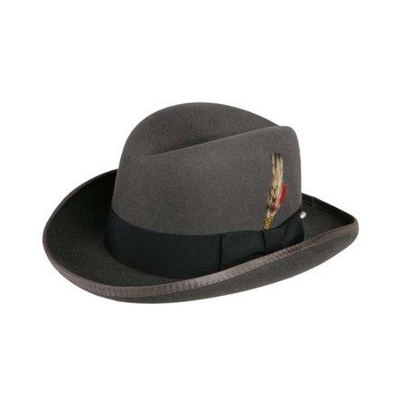 Godfather Homburg Fedora Hat in Steel Grey with Black
