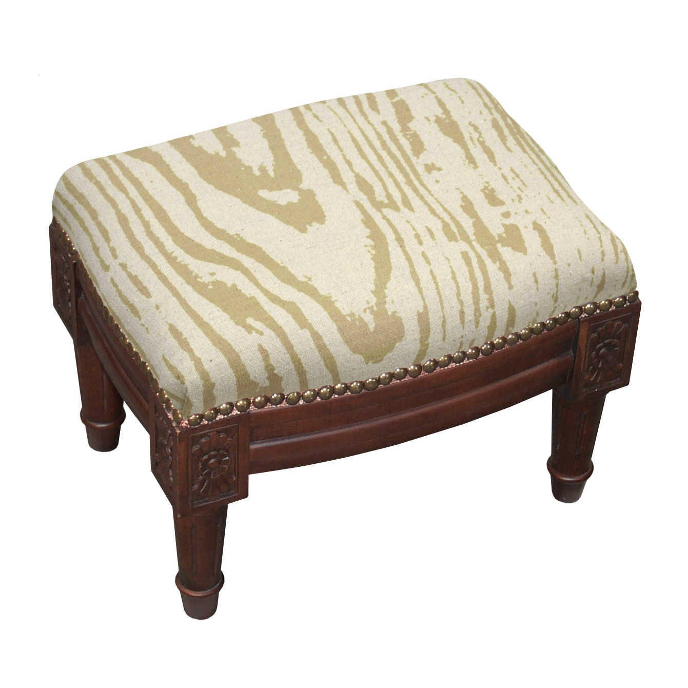 123 Creations Faux Bois Tan Green Wooden Fabric Footstool with Nail Heads by Overstock