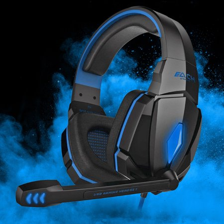 EACH G4000 Gaming Headset Stereo Headphones USB 3.5mm LED with Mic for PC (Headset Headphone Microphone)