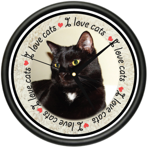 I LOVE CATS 2 Wall Clock cat lady kitty breeder animal lover veterinarian gift