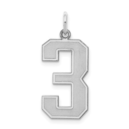 9mm Laser Etched Italian Charm - 925 Sterling Silver Large Number 3 Pendant Charm Necklace Sport Laser Etched Gifts For Women For Her