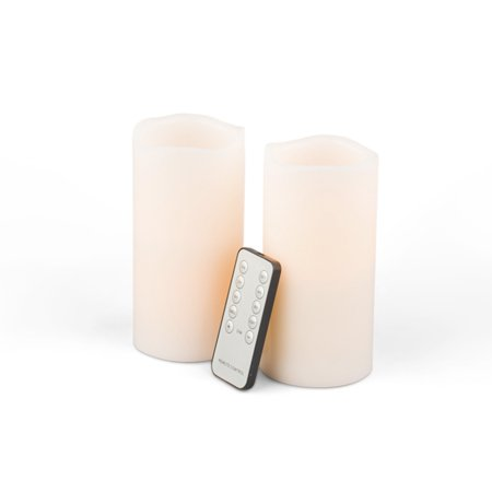 Everlasting Glow Wax Wavy Edge LED Candle with Remote (Set of 2), Bisque