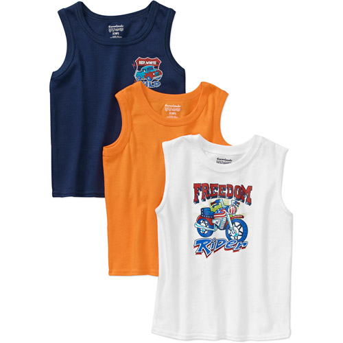Garanimals Baby Boys' 3 Piece Muscle Tee, Mesh Tank and Solid Tank Set