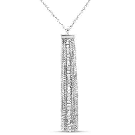 Sterling Silver Rhodium Plated Rolo Chain Diamond Cut Center Row Bead Tassel Necklace, 18