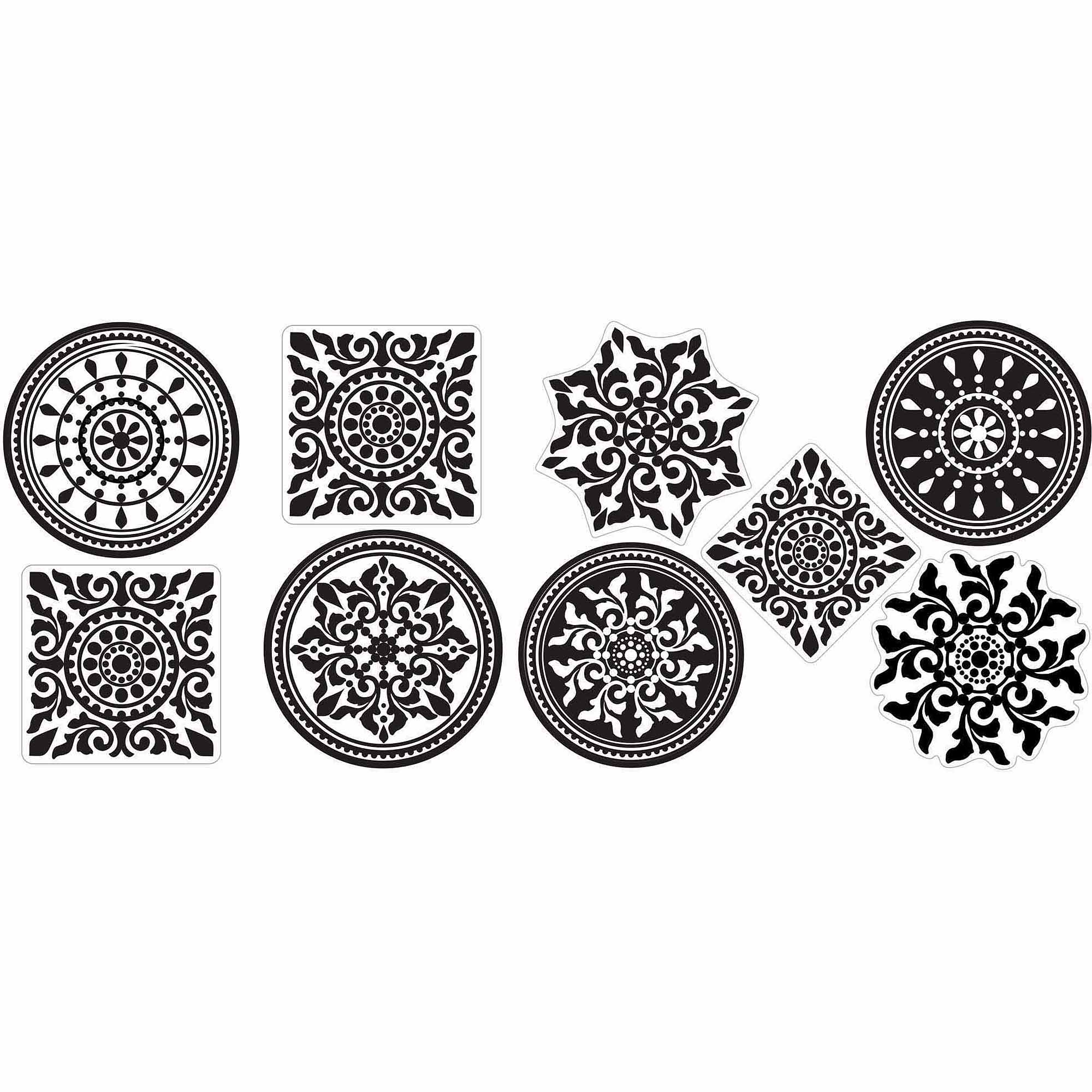 Black and White Medallion Stickers