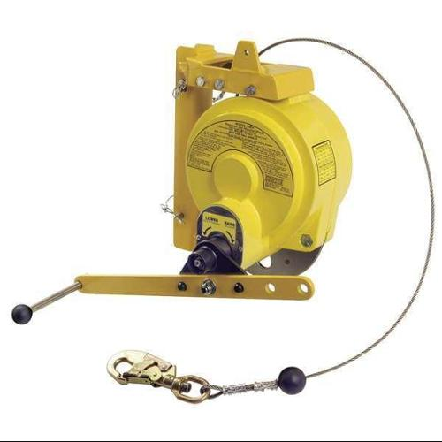 GEMTOR MRW-100S Man Rated Winch, 100 ft., 310 lb., Yellow