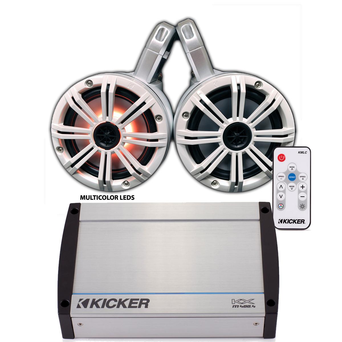 Kicker Marine Wake Tower System w/ White 6.5 LED Speakers, LED Remote and Kicker 40KXM400.4 400 Watt Amplifier